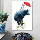 Cartoon Animal Bike Painting Room Decoration Print Poster Picture Canvas Decor