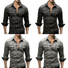 New Mens Solid Luxury Business Casual Shirt Long Sleeve Slim Fit Stylish Shirts