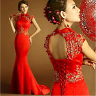 F155 Red Brocade Mermaild Formal Evening Prom Party Ball Gown Bridal dress