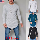 New Mens Stylish Slim Fit Long Sleeve Casual O-neck Shirt T-shirts Tops Tee USA