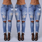 Womens Vintage Ripped Skinny Denim Jeans High Waist Pencil Pants Slim Trousers