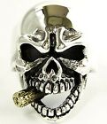 GOLD CIGAR SKULL SOLID 925 STERLING SILVER BAND RING