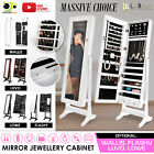 Mirror Jewellery Cabinet Storage Organiser Box Makeup Wooden Full Length