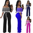 Plus Size Women's Off Shoulder Ruffle Sleeve Wide Leg Jumpsuits Rompers Clubwear