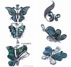 Abalone Shell Animal butterfly Rhinestones Silver Pendant Jewelry Making DIY