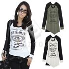 Lady Letter Printed Long Sleeve Baseball T-shirt Slim Asymmetry Hem Blouse Tee