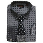 Bruno Conte Charcoal Dress Shirt w/ Polka Dot Paisley Tie, Hanky & Cuff Links