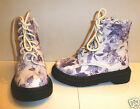 Girl's Casual Ankle / Biker / DM Style Boots- Lilac& White Floral Design- NEW