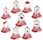 XMAS WAVES PATTERN red white girl clothing shirt with pettiskirt outfit set 1-8Y
