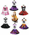 HALLOWEEN Cute Black Skull Head Girl Clothing Outfit Shirt Top Pettiskirt 1-8Y