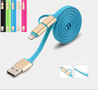 1M Universal 2 in 1 Micro Usb Cable Charger Cord For iPhone Android