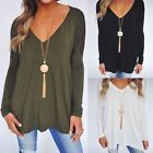 Women Casual V Neck Long Sleeve Cotton Blouse Loose Shirt Ladies Tops UK8-22