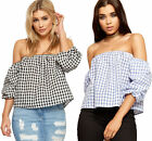 Womens Off Cold Shoulder Crop Top Ladies Gingham Check Print Short Sleeve 8-14