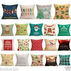 Christmas Cartoon Throw Pillow Case Linen Sofa Cushion Cover Bed Home Decor US