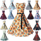 Womens Retro 50s Swing Floral Housewife Pinup Rockabilly Evening Party Dress
