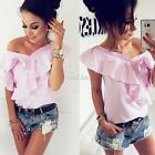 New Fashion Women Casual V-Neck Sleeveless Button Ruffle Striped Shirt S0BZ
