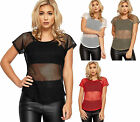 Womens Fishnet Mesh T-Shirt Top Ladies Short Cap Sleeve Round Neck Plain 8-14