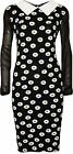 New Womens Plus Daisy Floral Print Collar Ladies Long Chiffon Sleeve Dress 14-28