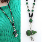 Hot Sell Elegant Cat Eye Stone Gourd Pendant Necklace Charm Sweater Beads Chain
