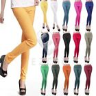 Women Fit Candy Color Stretch High Waist Pencil Pants Leggings Trousers