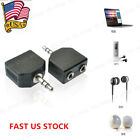US 1Pair 1 Male to 2 Female 3.5mm Y Audio Splitter Switcher Headphone Adapter