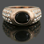 18k Gold Plated Black n Clear Crystals Women Wedding Bridal Engagement Ring SR84
