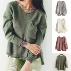 Womens Off Shoulder V Neck Full Sleeve Long Sweater Autumn Knitted Sweater Gift