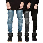 Men's Ripped Skinny Biker Jeans Destroyed Frayed Designed Slim Fit Denim Pants G