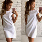 Summer Women Cotton Short Sleeve Evening Party Cocktail Casual Mini Dress