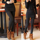 Women's Solid Winter Thick Warm Fleece Lined Thermal Stretchy Leggings Pants UK