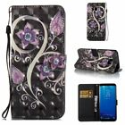 Peacock Flower 3D Wallet Leather case cover with strap for Samsung S8 iphone 8