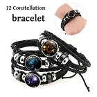 Vintage Zodiac 12 Constellations Leather Alloy Charm Bracelets Unisex Jewelry LE