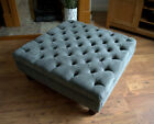 Square Chesterfield Deep Buttoned Footstool in Casino Crush Grey