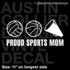 "11"" SPORTS MOM Vinyl Decal Car Sticker - Volleyball Basketball Cheerleading"