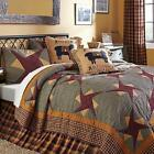 4pc FOLKWAYS COUNTRY PRIMITIVE PATCHWORK QUILT SHAMS PILLOW BED SET VHC BRANDS