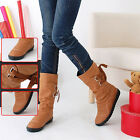 Fashion Lady Winter Fall PU Mid-Calf Solid Boots Straps Flat Heels Boots Gifts