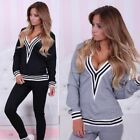 US 2Pcs Sweat Suit Jogging Womens Hoodies Sport Tops Pants Tracksuit Sweatshirt