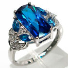 GORGEOUS RECTANGULAR SHAPE SWISS BLUE TOPAZ 925 STERLING SILVER RING SIZE 5-10