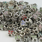 10Pcs Crystal Alloy Butterfly Big Hole Spacer Beads Fit European Bracelets 10mm
