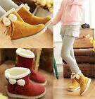 Womens Winter Furry Ball Fringe Tassels Bow Tie Snow Boots Shoes Plus Size B55