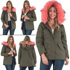 New Womens Cotton Brave Soul Cotton Twill Parka Fur Hooded Jacket 8 10 12 14 16