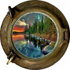 Huge 3D Porthole Enchanted Mountain River View Wall Stickers Film Decal 353