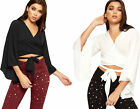 Womens Crepe Long Flared Bell Sleeve Tied Front Ladies V-Neck Crop Top 6-14