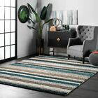 nuLOOM Hand Made Modern Stripe Shaggy Area Rug in Blue, Brow