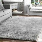 plush rug - nuLOOM Contemporary Modern Soft Plush Shag Area Rug in Solid Silver Gray