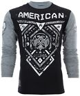AMERICAN FIGHTER Mens LS T-Shirt BLUE MOUNTAIN Athletic Biker Gym MMA UFC $55