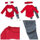 Toddler Baby Kid Girl Heart Long Sleeve T-shirt Leggings Headband Outfit Clothes