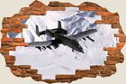 3D Hole in Wall Army Aeroplane View Wall Stickers Film Mural Art Decal 144