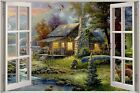 Huge 3D Window view Enchanted Boat House Wall Sticker Film Decal Wallpaper S67