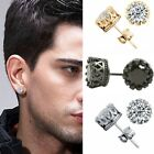 10mm Men Women Sterling Silver Post Stud Crown Cubic Zirconia Earrings Gift P8